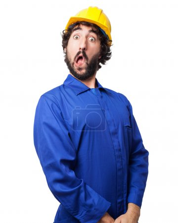 Photo pour Surpris travailleur homme peur pose - image libre de droit