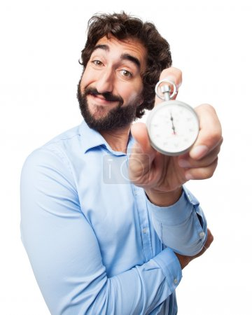 happy young man with stopwatch
