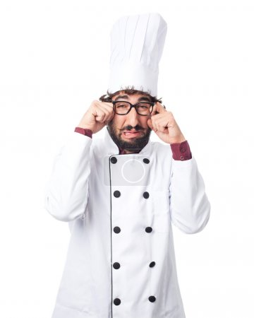 Photo for Sad cook man crying - Royalty Free Image