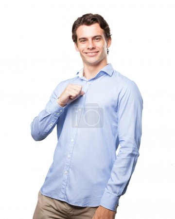 happy businessman in proud pose
