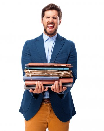 angry businessman with files