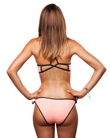 Young woman back with bikini