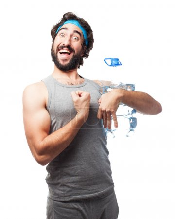 happy sport man with water bottle
