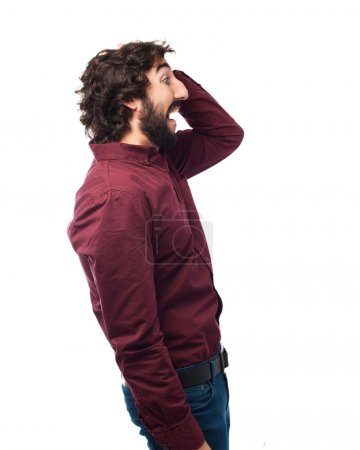 Photo for Sad young man scared pose - Royalty Free Image