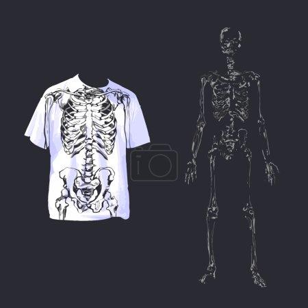 Skeleton and skull on a white t-shirt