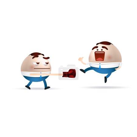 Businessman cartoon fighting