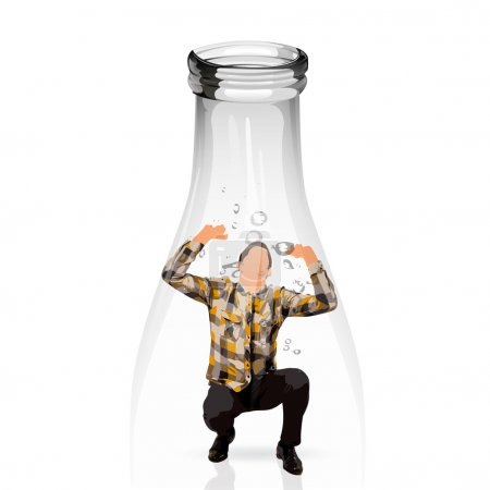 Young man trapped into a water glass bottle