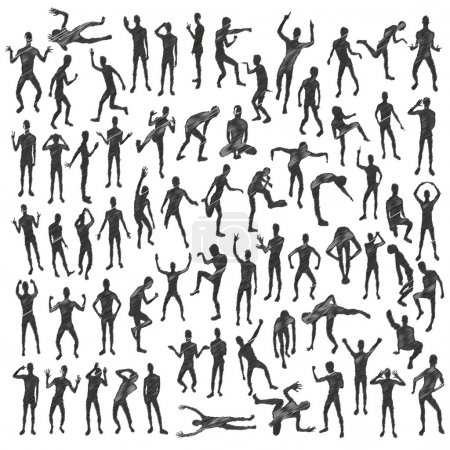 People silhouettes in different positions