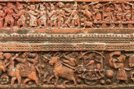 Terracota figures at Pancharatna Govinda Temple in Putia, Bangladesh.
