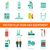 Vector flat icon gas equipment Gas equipment and household appliances for the kitchen bathroom and heating Locksmith tool for gas equipment