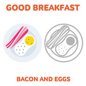 Vector flat and line icon bacon and fried eggs Branding Identity Corporate logo design template web design web icon food menu Isolated on a white background