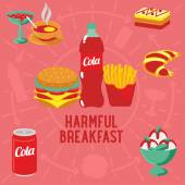 Vector flat banner breakfast HARMFUL