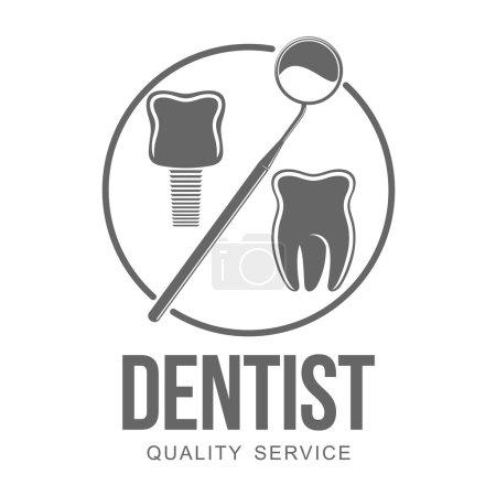 Illustration pour Logo vectoriel sur clinique dentaire. Graphiques Web, bannières, publicités, brochures, modèles d'affaires. Isolé sur fond blanc . - image libre de droit