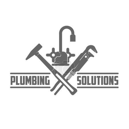Illustration pour Logo vectoriel eau, ingénierie du gaz, service de plomberie. Graphiques Web, bannières, publicités, brochures, modèles d'affaires. Isolé sur fond blanc - image libre de droit