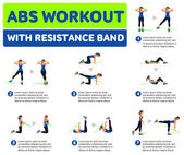 Abs workout WITH RESISTANCE BAND Fitness Aerobic and workout exercise in gym Vector set of workout icons in flat style isolated on white background