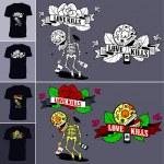 Vector illustration on a T-shirt - skeleton suicid...