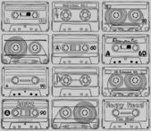 Seamless texture Compact cassettes - Back to 80's!