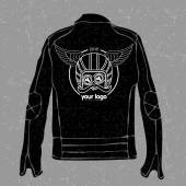 Jacket with a logo on the back of a motorcycle helmet