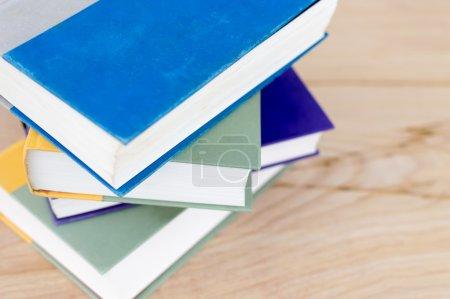 Stack of books left side justification