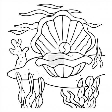 Illustration for Clam with pearl underwater - Royalty Free Image