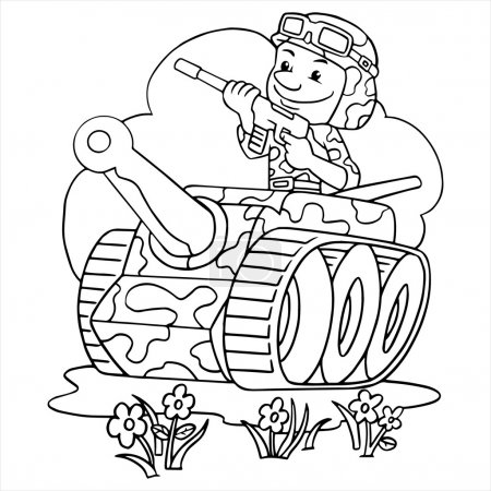Young soldier in a tank