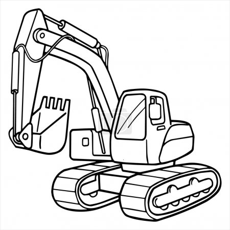 Excavator cartoon illustration isolated on white
