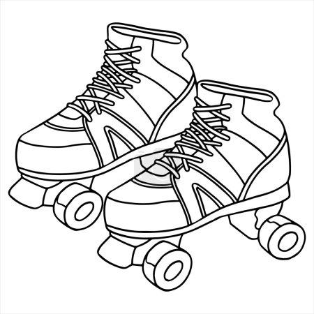 Roller skate cartoon illustration isolated on white