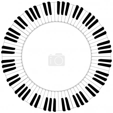 round black and white piano keyboard frame