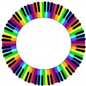 Round colored piano keyboard frame