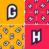 Letter G H color signs with seamless pattern