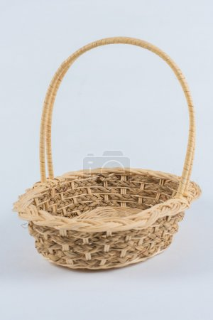 Woven basket isolated on a white background with clipping path.