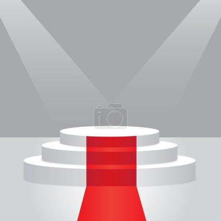 Empty illuminated podium with red carpet