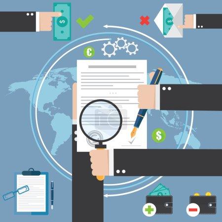 Illustration pour Signature à la main du contrat ou du document sur papier blanc - image libre de droit