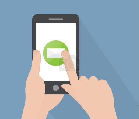 Illustration pour Envoyer un email par téléphone. illustration vectorielle - image libre de droit