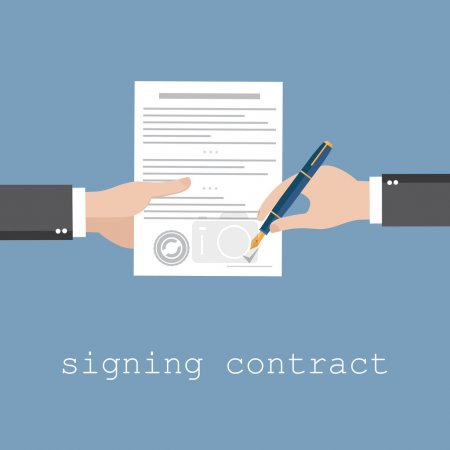 Illustration for Hand signing contract or document on white paper - Royalty Free Image
