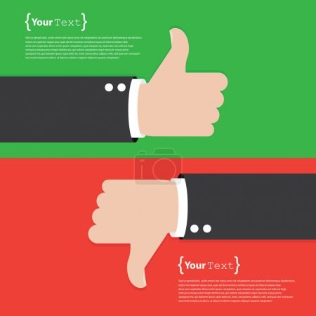 Illustration for Thumbs Up and Thumbs Down. template with place for text - Royalty Free Image