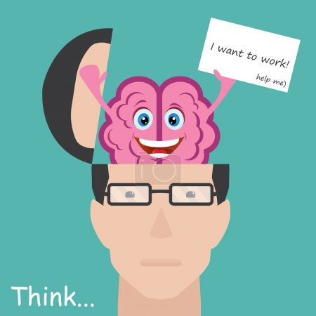 Illustration for Vector illustration of Brain showing paper with message I want to work. Concept employee - Royalty Free Image