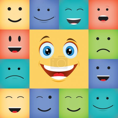 Illustration for Vector illustration of colorful happy smiling faces set - Royalty Free Image