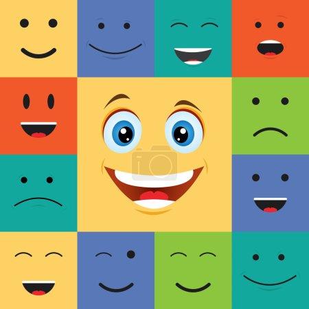 Illustration pour Illustration vectorielle de visages souriants heureux colorés - image libre de droit