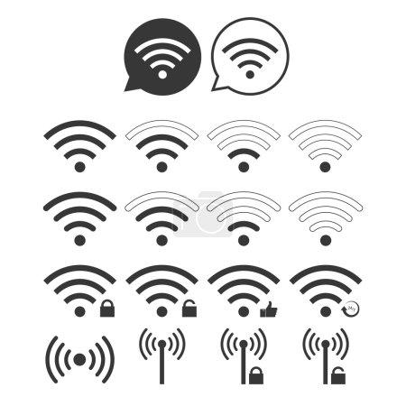 Set Of Wi-Fi Icons on white background...