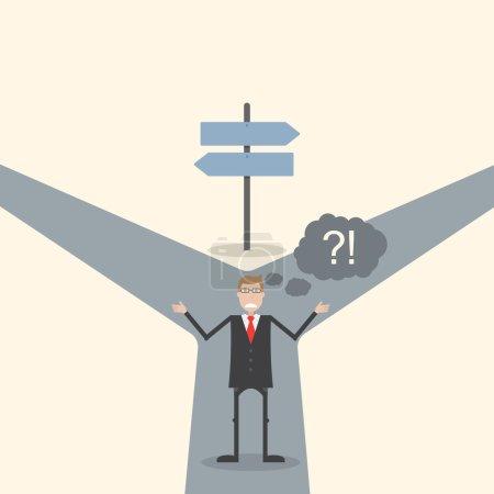 Illustration pour Un homme d'affaires ne sait pas où aller - image libre de droit