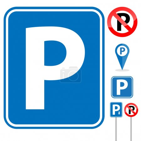 Parking Signs on white