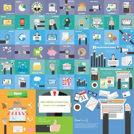 Illustration pour Icône plate méga entreprise de collecte de couleur, icône économique et financière - image libre de droit
