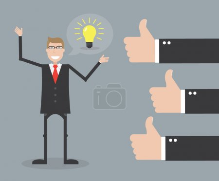 Illustration for Businessman feedback thumbs up - Royalty Free Image