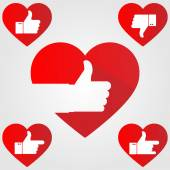 Thumb up red hearts