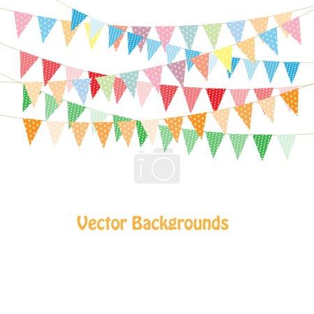 Ilustración de Empavesado de colores y guirnaldas sobre fondo blanco - Imagen libre de derechos