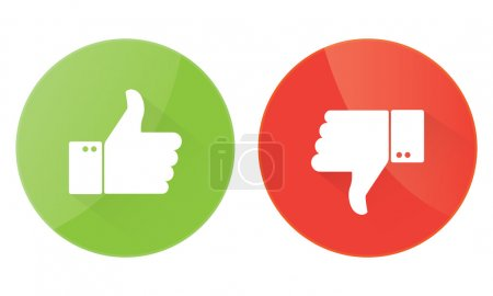 Illustration for Thumbs up icons set red and green background - Royalty Free Image