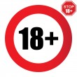 18+ age restriction sign icon...