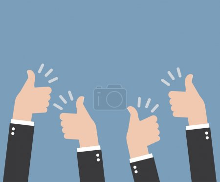 Illustration for Many thumbs up gestures, isolated on blue background - Royalty Free Image