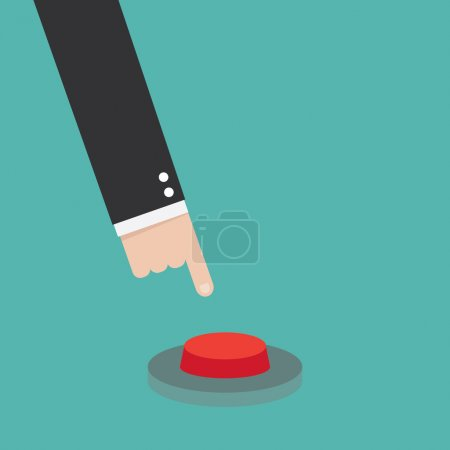 Hand pressing red button